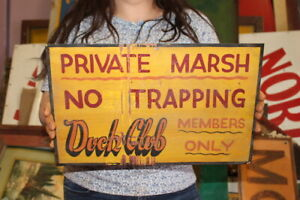 """Vintage 1950's Private Marsh No Trapping Duck Club Hunting 16"""" Metal Sign"""