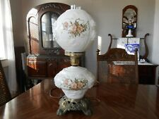 Puffy Wild Rose Milk Glass Gone with the Wind Table Lamp Vintage