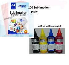 100 Sheets 85x11 Sublimation Transfer Paper Inkjet 400 Sublimation Ink