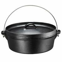 Bruntmor Pre-Seasoned Cast Iron Dutch Oven with Flanged Lid 6-Quart Black