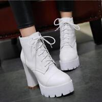 Womens lace up platform PU leather Round toe Chunky high heel Casual ankle boots
