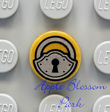 NEW Lego Minifig PADLOCK 1x1 Round Gold TILE - Castle Door Treasure Chest Lock