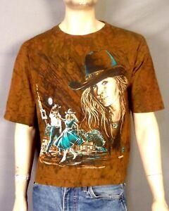 vtg 90s Ragtops Tie Dye Cowboy Western Theme Puffy T-Shirt The Mountain Style L