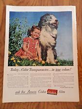 1945 Ansco Film Camera Ad Old English Sheep Dog & Little Girl