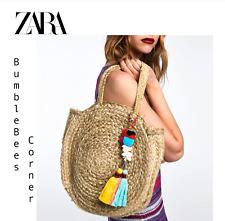 38faf6c68b8 ZARA Round Jute Bag TASSELS POMPOMS Charm LIMITED ED Weave HandBag NWT  2571/201