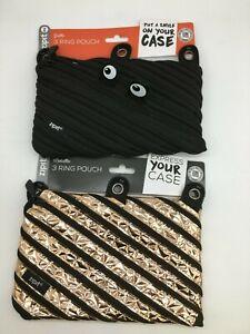 Lot of 2 ZipIt Black Monster & Metallic 3 Ring Pouch Pencil Bag Zipper Closure