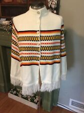 Vintage 70s Poncho Fringe Boho Cape Mod Hippie Shawl Orange Yellow Brown