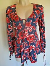 Topshop Maternity Navy & Red Rose Print Bluse Tunika Top Gr. 8 NEU