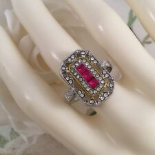 Vintage Jewellery Silver Gold Ring with Rubies White Sapphires Deco Jewelry N
