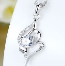 """Sterling Silver Necklace 18"""" Chain Angel Wing Cubic Zirconia Pendant Gift K39A"""