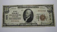 $10 1929 Chambersburg Pennsylvania PA National Currency Bank Note Bill #4272 VF