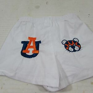 Auburn Tigers BABY INFANT Aubie Cotton blend Shorts embroidered white 0-6 months