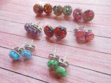 8x Domed Stud Earrings - Flower Glitter Bling -  6mm & 10mm *STOCK CLEARANCE*