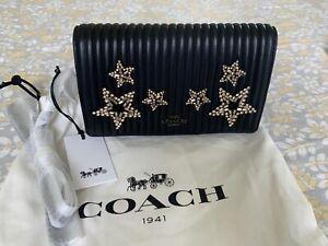 Coach 1941 Foldover Chain Clutch Crystal Star Embellishment In Black 31871 $375