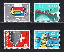 Switzerland 1957 MNH Mi 637-640 Sc 359-362 Railroad,printing machine,Graphic Art