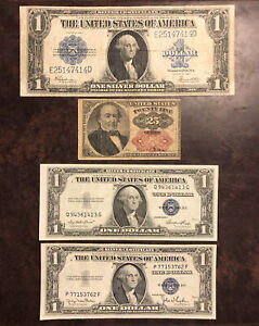 Lot Of (4) United States Type Notes - Fractional Currency & Silver Certificates