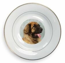 More details for blonde leonberger dog gold rim plate in gift box christmas present, ad-le1pl