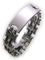 Herren Armband inkl. Gravur Edelstahl mit Kautschuk 21 cm  ID Band Qualität