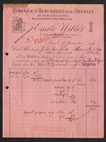 """PARIS (XI°) USINE d'ELASTIQUES pour MEUBLES """"Emile WIBLET / FLEURY Succ"""" en 1919"""