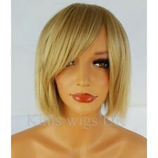 LADIES WOMENS HONEY BLONDE BLUNT CHOPPY STYLE SHORT BOB FULL WIG