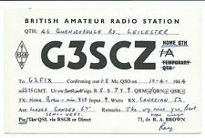 LEICESTER - 1964 QSL Radio Transmission Confirmation Card  G3SCZ