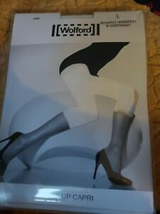Wolford Lace Up Capri Footless Tights, Large, white, Slight 2nd