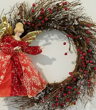 Fall Winter Christmas Holiday Wreath 20 in Twigs Red Berries Religeous Angel