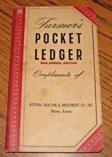 1948 1949 John Deere Farmers Pocket Ledger OTTAWA TRACTOR & IMPLEMENT CO Kansas