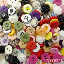 100pcs Assorted Flower Theme Resin Buttons Lots Craft Sewing Scrapbook DIY Cards