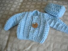 Hand Knitted Blue Baby Set: Cardigan with matching Hat- size 0 - 3 months