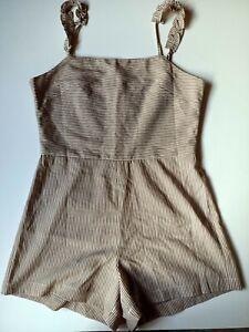 THE BARE ROAD Cotton Linen Jumpsuit Womens Size S Beige Pinstripe
