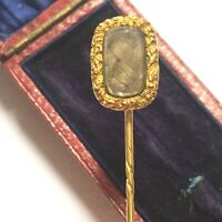 Antique 18ct Yellow Gold Georgian Victorian Hair Locket Memorial Pin, Cased