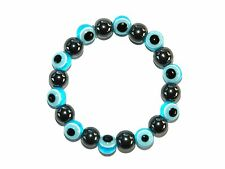 B-0452 - 10mm Beautiful Hematite Gemstone & Lucky Evil Eye Handmade Bracelet