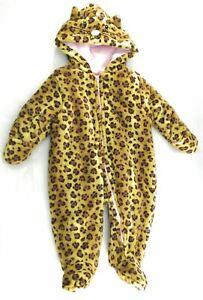 Quiltex Winter Snowsuit Infant Girls Cheetah Pattern Brown Hooded