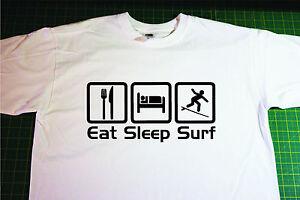 Eat, Sleep, Surf T-Shirt. In White. Size Medium, Surfing, Surfboard, board