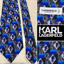 LAGERFELD HOMME Italy Silk Jacquard Men's Tie,Karl Silhouette Handmade-Perfect