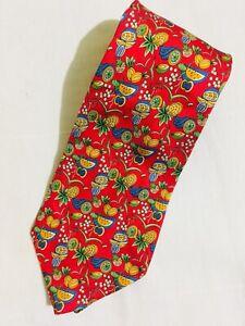Ferragamo RED  fruit printed necktie
