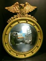 """Antique Carved Wood & Gilt Gesso Convex Mirror with Eagle 23.75"""" x 17.75"""" Good"""