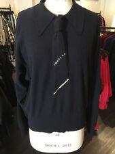 Sonia Rykiel Sz L Black White Wool Knit Tie Front Sweater
