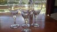 Clear Glass Water Glasses Goblets Scroll Design 4 12 oz glasses EUC