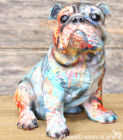 Large 22cm colourful painted Bulldog lover gift ornament sculpture decoration
