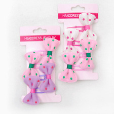 2 pack of 4 bow hair clips purple pink white dots total 8 FREE POST Sydney