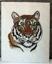New listing Vintage Completed Tiger Needlepoint Tapestry mounted