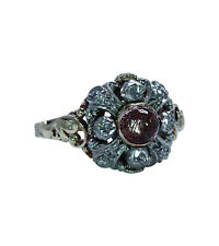 Victorian Antique Rutilated Moonstone Rose cut Diamond Ring 14K Lovely Mounting