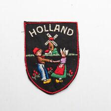 Vintage Holland Travel Souvenir Patch Windmill Tulips