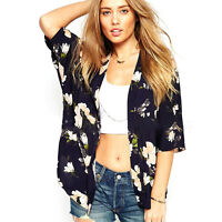 Women Boho Gypsy Floral Kimono Cardigan Jacket Beach Cover Up Chiffon Blouse Top