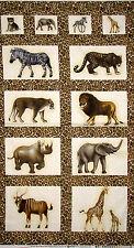 Safari Animals Fabric ~ 100% Cotton By The Panel ~ Clothworks African Savannah