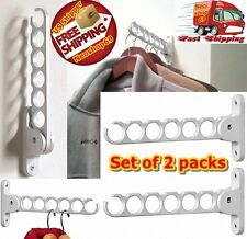 Clothes Folding Hanger Holder Wall Hooks Hangers Organizer Laundry Room Dryer US