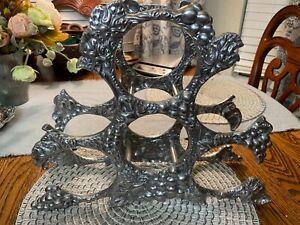 Arthur Court Countertop Wine Rack 6 Bottle Holder Grapevine Design Aluminum 15″