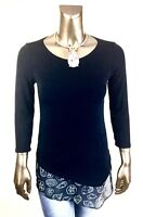 CHICO'S TRAVELER *NWT 1. (M) BLACK SEASHELLS-TRIM ASYMMETRICAL 3/4-SLV TOP $85